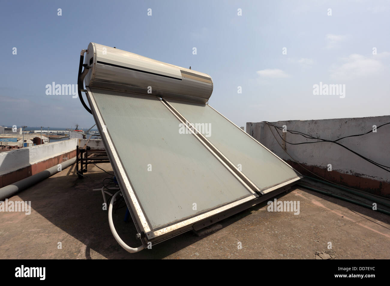 Solar water heater on the roof in Casablanca, Morocco - Stock Image