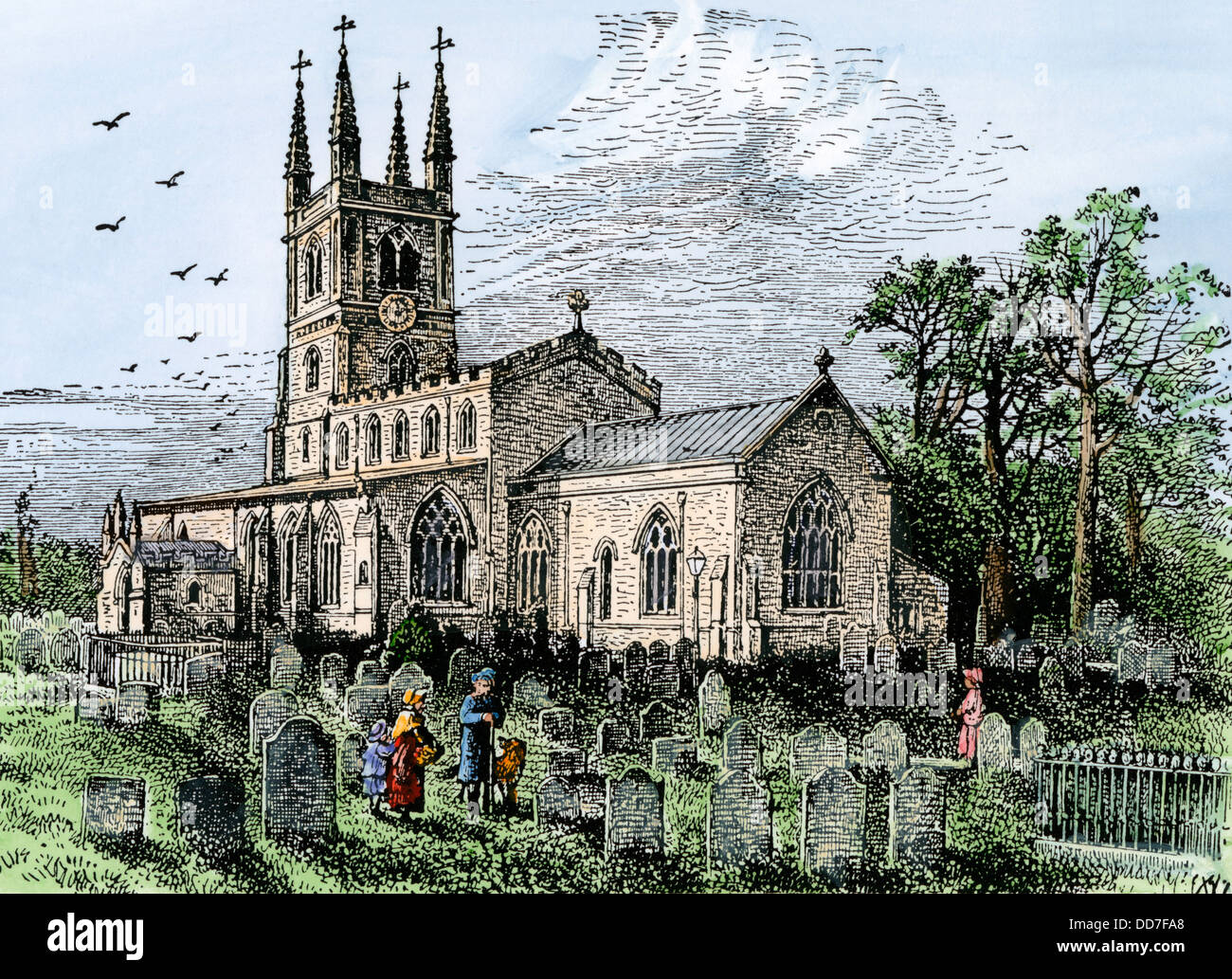 St Mary's Parish Church and graveyard, Lutterworth, England, 1800s. Hand-colored woodcut - Stock Image