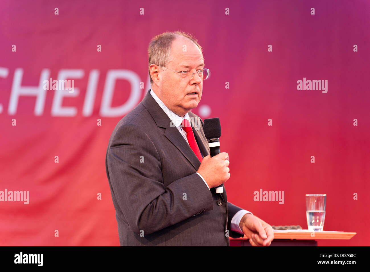 Kiel, Germany, 27. August, 2013, German Candidate for Chancellor Peer Steinbrück during an Election Campaign - Stock Image