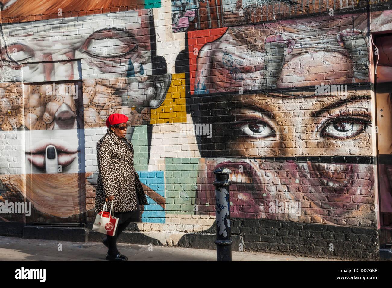 England London Shoreditch Brick Lane Wall Mural Stock