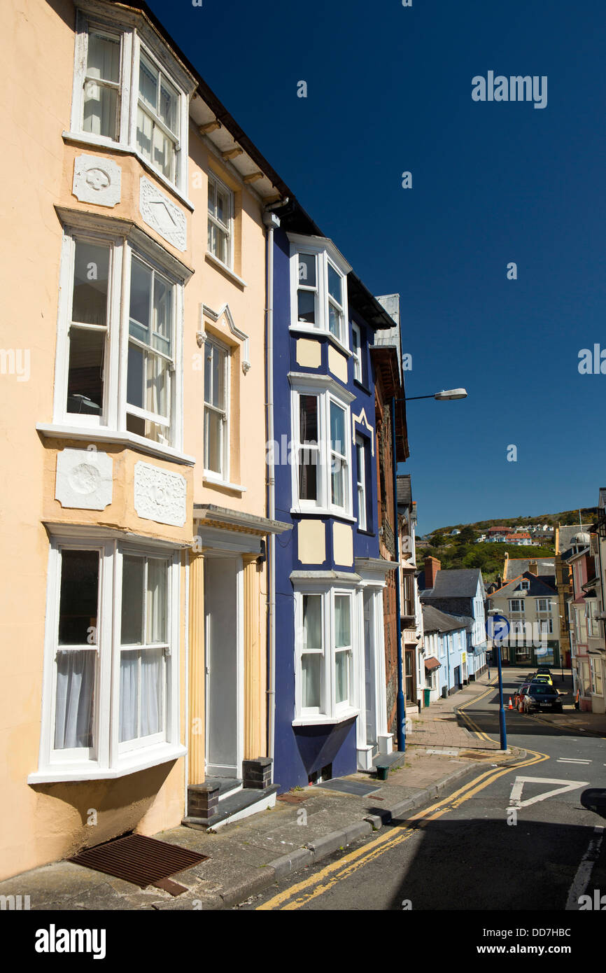 UK, Wales, Ceredigion, Aberystwyth, colourfully painted houses in Old Town - Stock Image