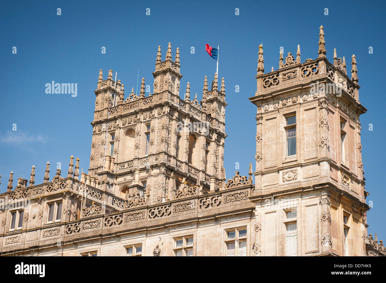 Highclere Castle Newbury Earl & Countess of Carnarvan setting TV serial show drama Downton Abbey rear exterior - Stock Image