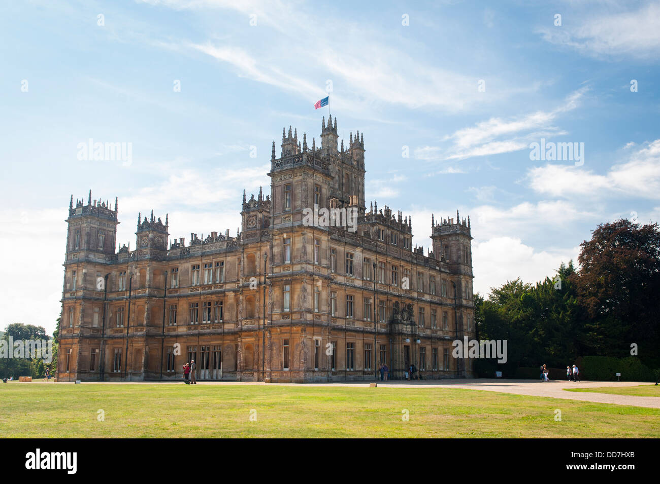 Highclere Castle , Newbury , Earl & Countess of Carnarvan , setting TV serial show drama Downton Abbey front - Stock Image