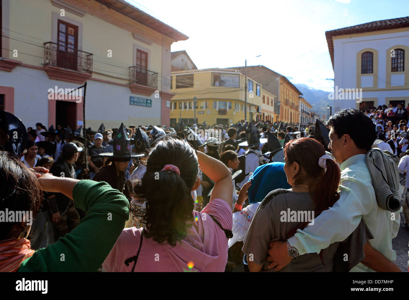 Large crowd in Cotacachi town square during Inti Raymi summer solstice celebrations Stock Photo