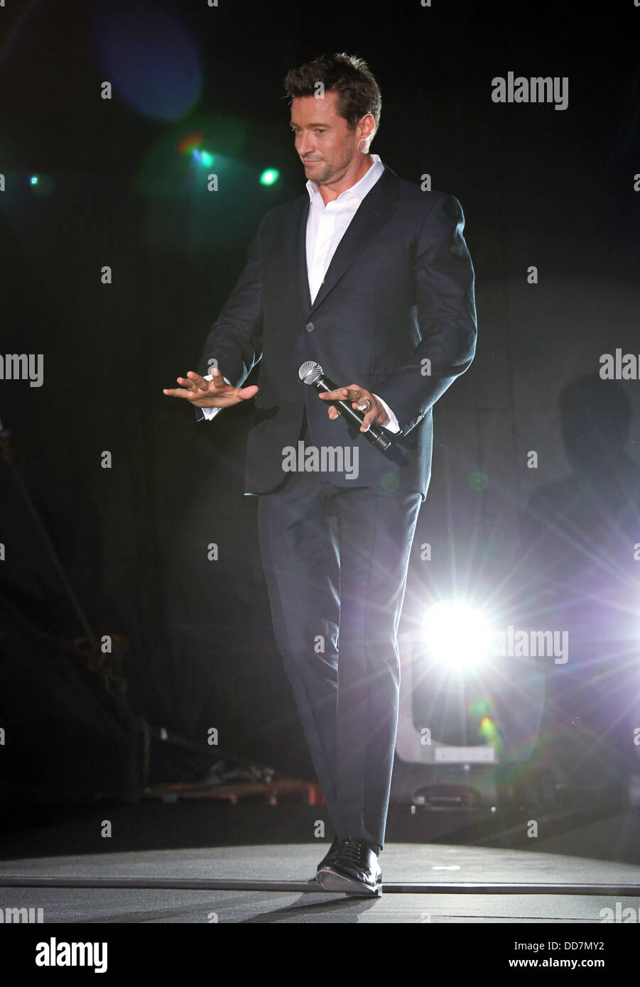 Tokyo, Japan. 28th Aug, 2013. Actor Hugh Jackman attends the Japan premiere promoting ''The Wolverine'' - Stock Image