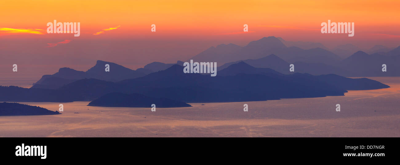 Sunset near Dubrovnik in south Croatia. View to Peljesac peninsula and Islands near by - Stock Image