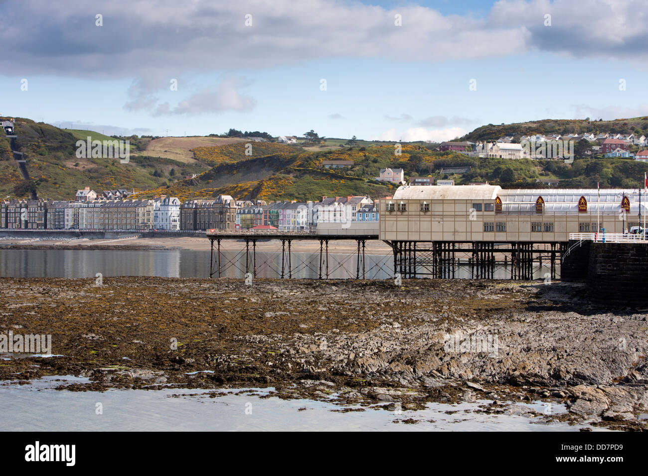 UK, Wales, Ceredigion, Aberystwyth, seafront and pier at low tide - Stock Image