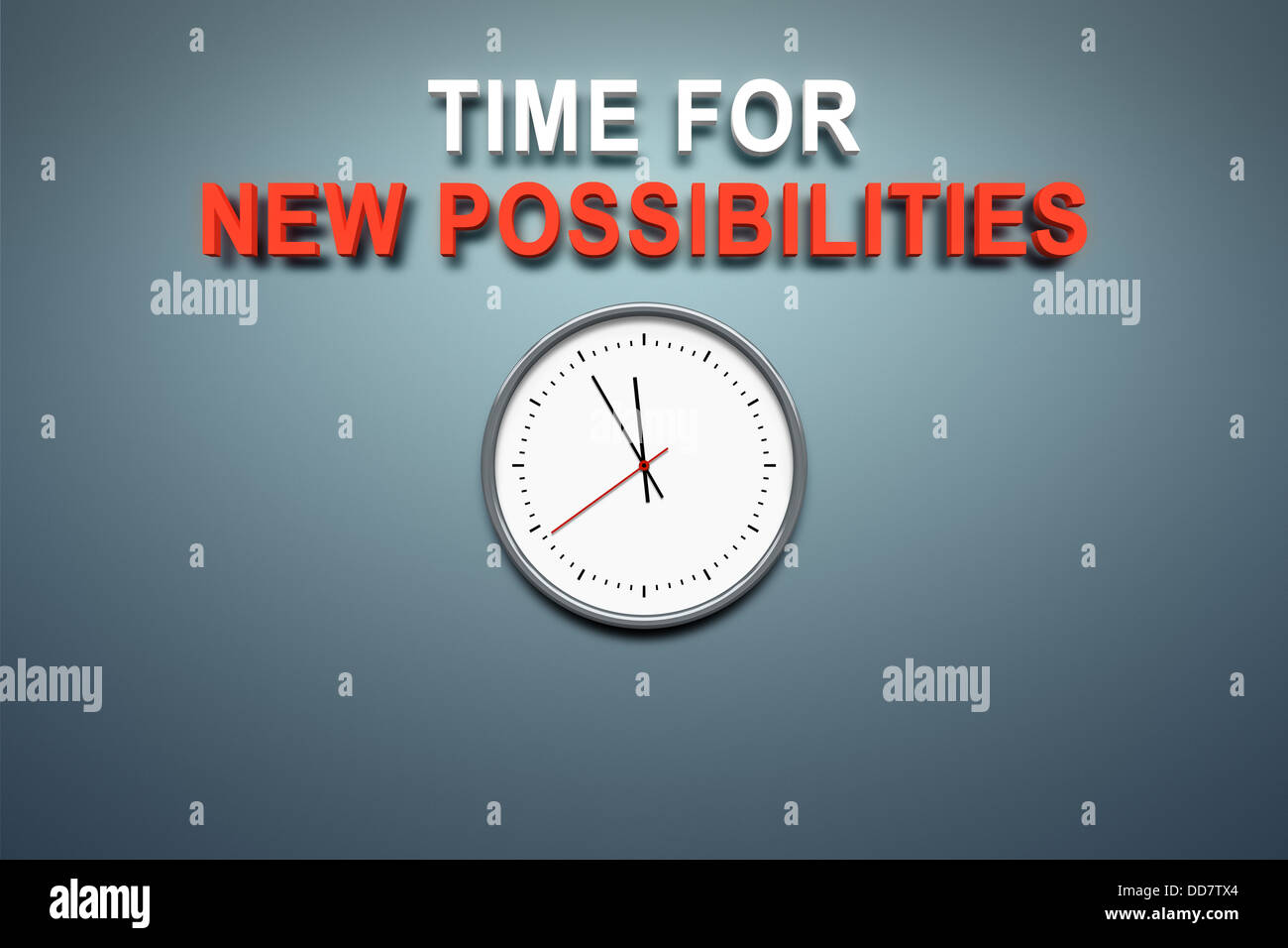 Time for new possibilities at the wall - Stock Image