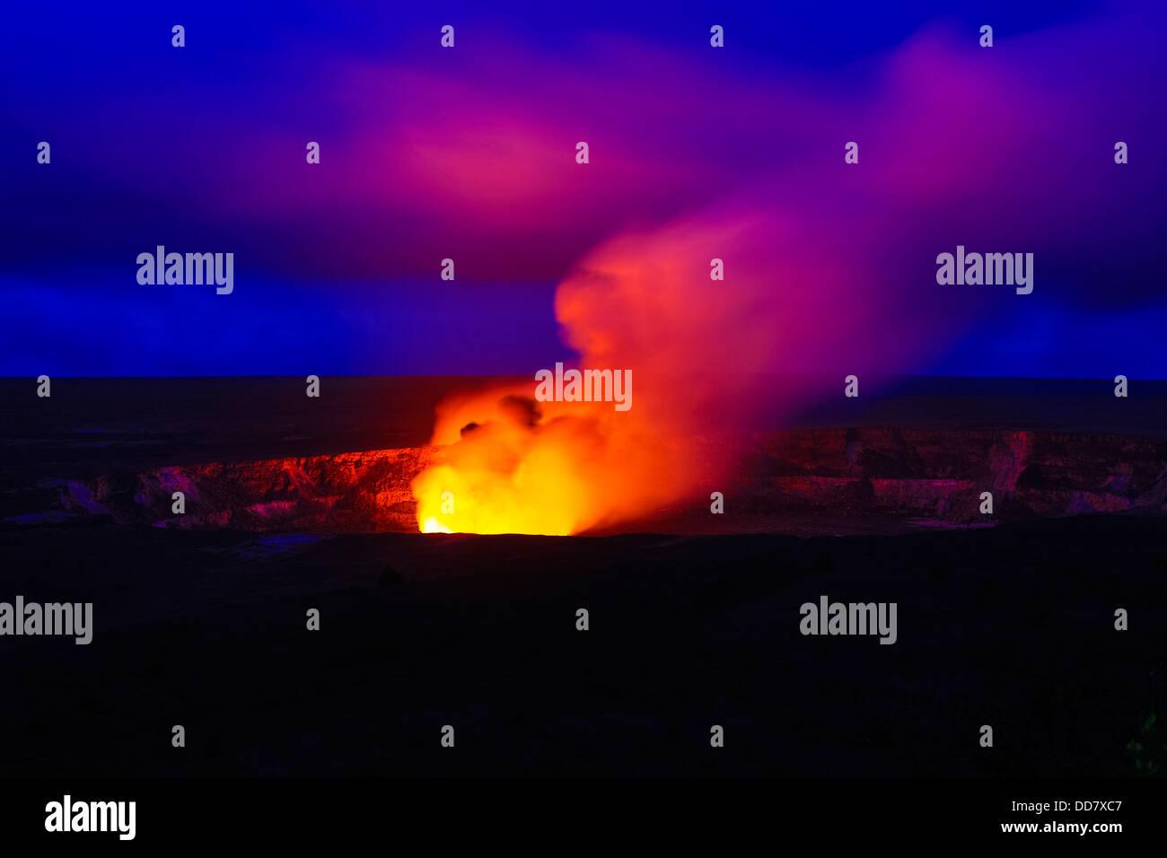 Halemaumau Crater, Erupting, Hawaii Volcanoes National Park, Island of Hawaii - Stock Image
