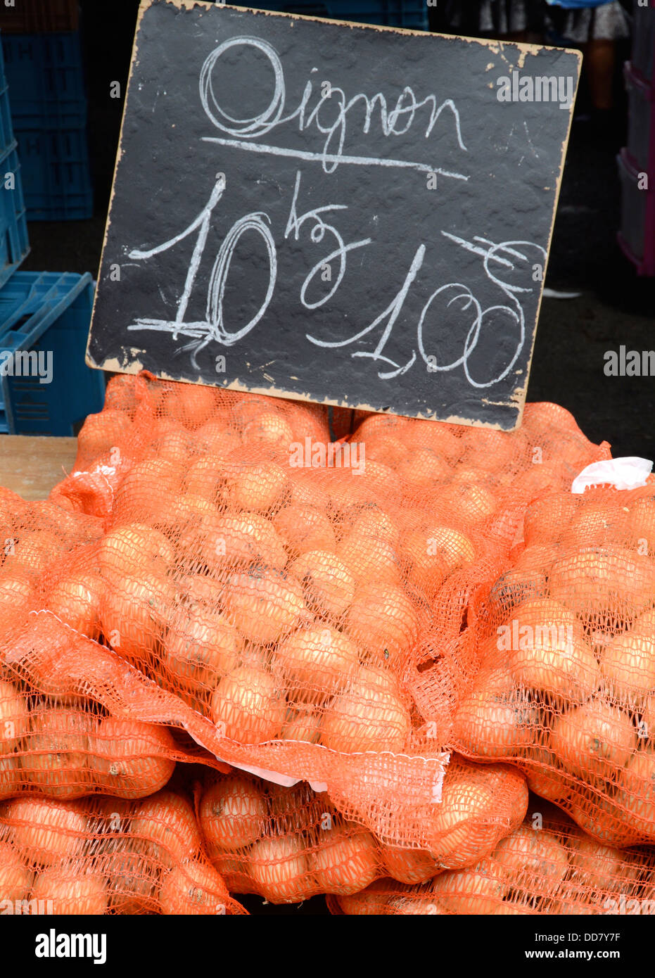 Bags of onions, Lille market - Stock Image