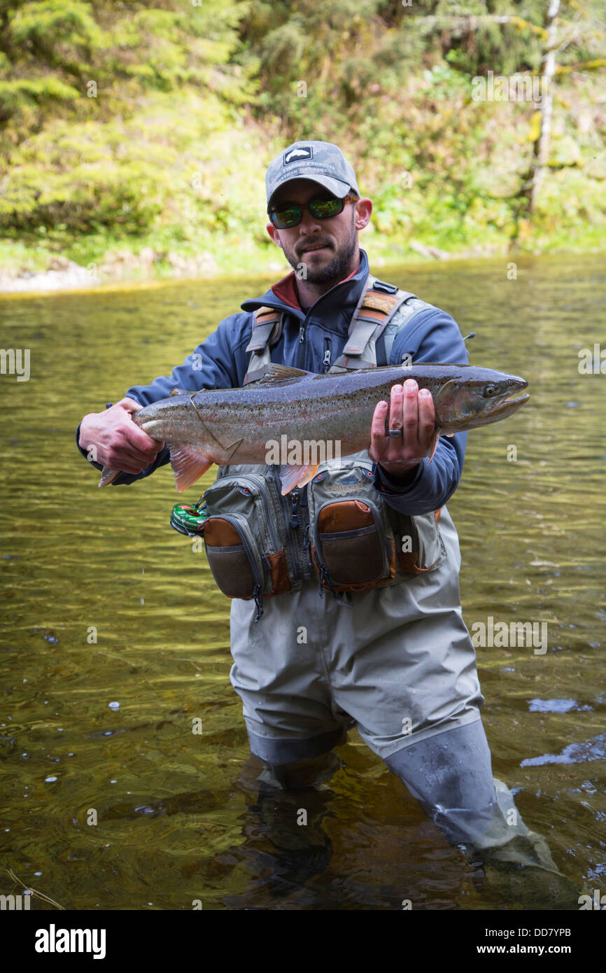 Fly fishing for steelhead trout, Sitka, Alaska - Stock Image