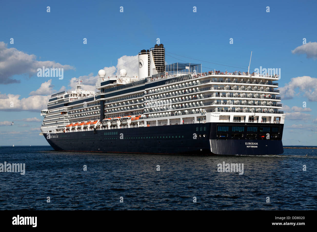 Stern of the cruise ship MS Eurodam from Holland America Line leaves the port of Copenhagen, Denmark - Stock Image