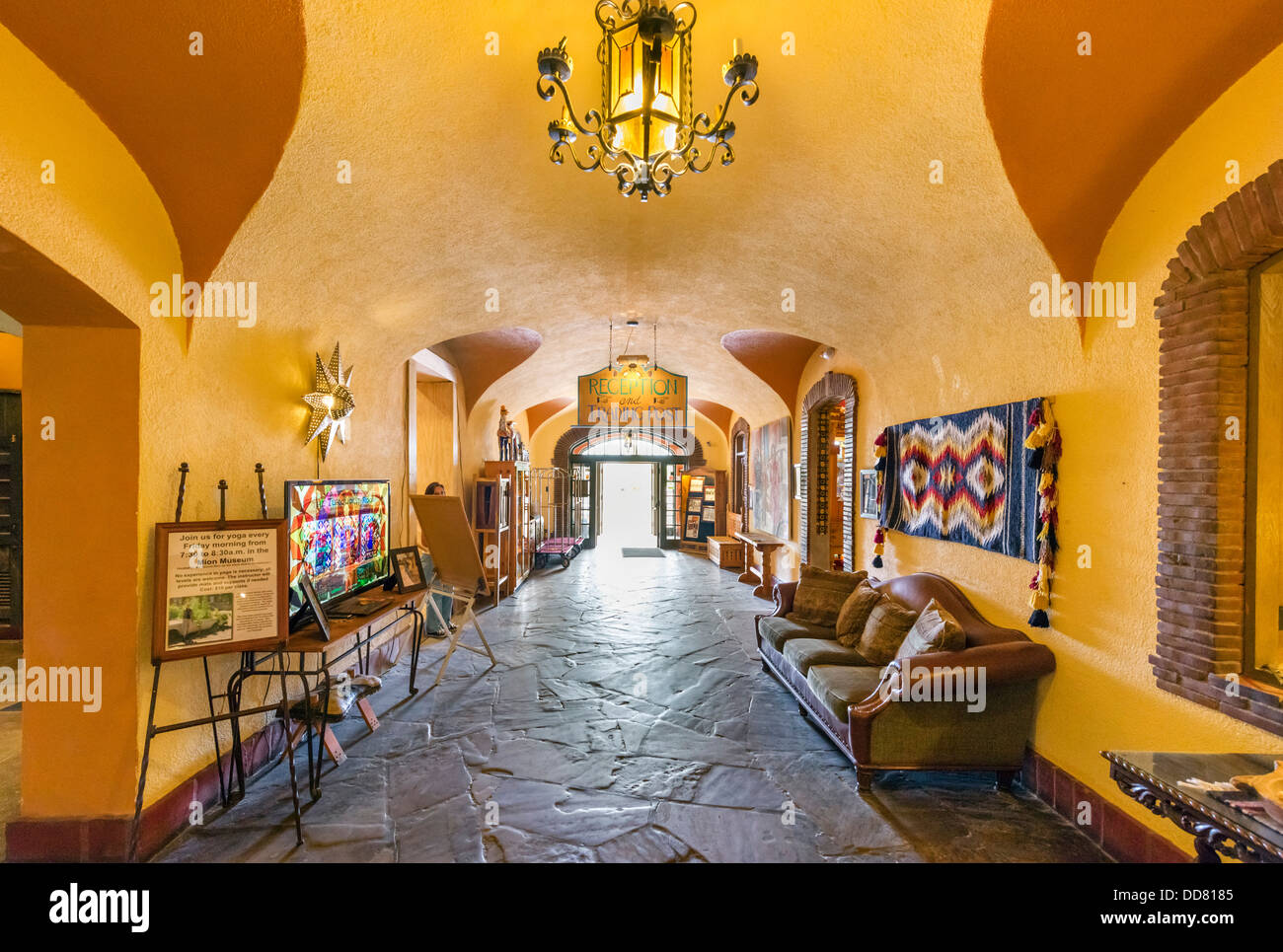 Entrance Hall of the historic La Posada Hotel, Winslow, Arizona, USA - Stock Image