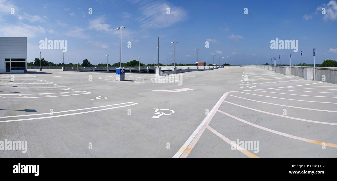 Empty Roof Top Parking Garage Carpark - Stock Image