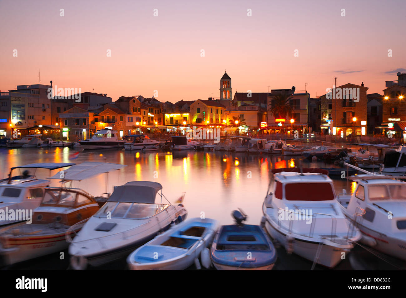 Vodice at sunset, Croatia - Stock Image