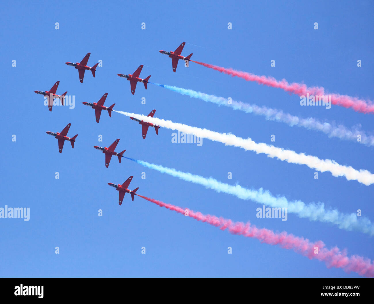 The RAF Red Arrows Aerial Display Team at Cosford Airshow 2013 Shropshire, England, Europe - Stock Image