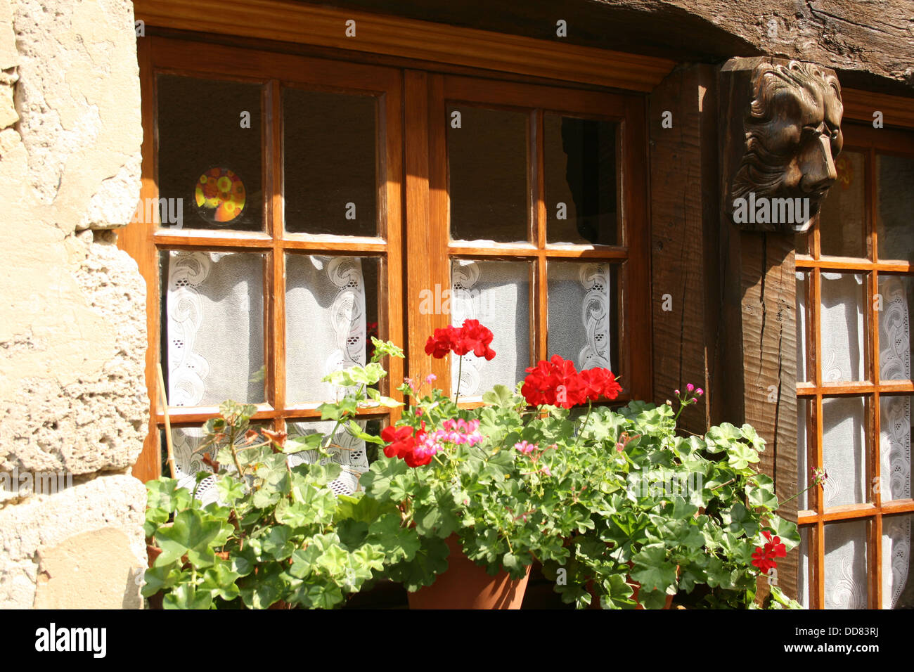 Closeup of a typical French cottage window box. - Stock Image
