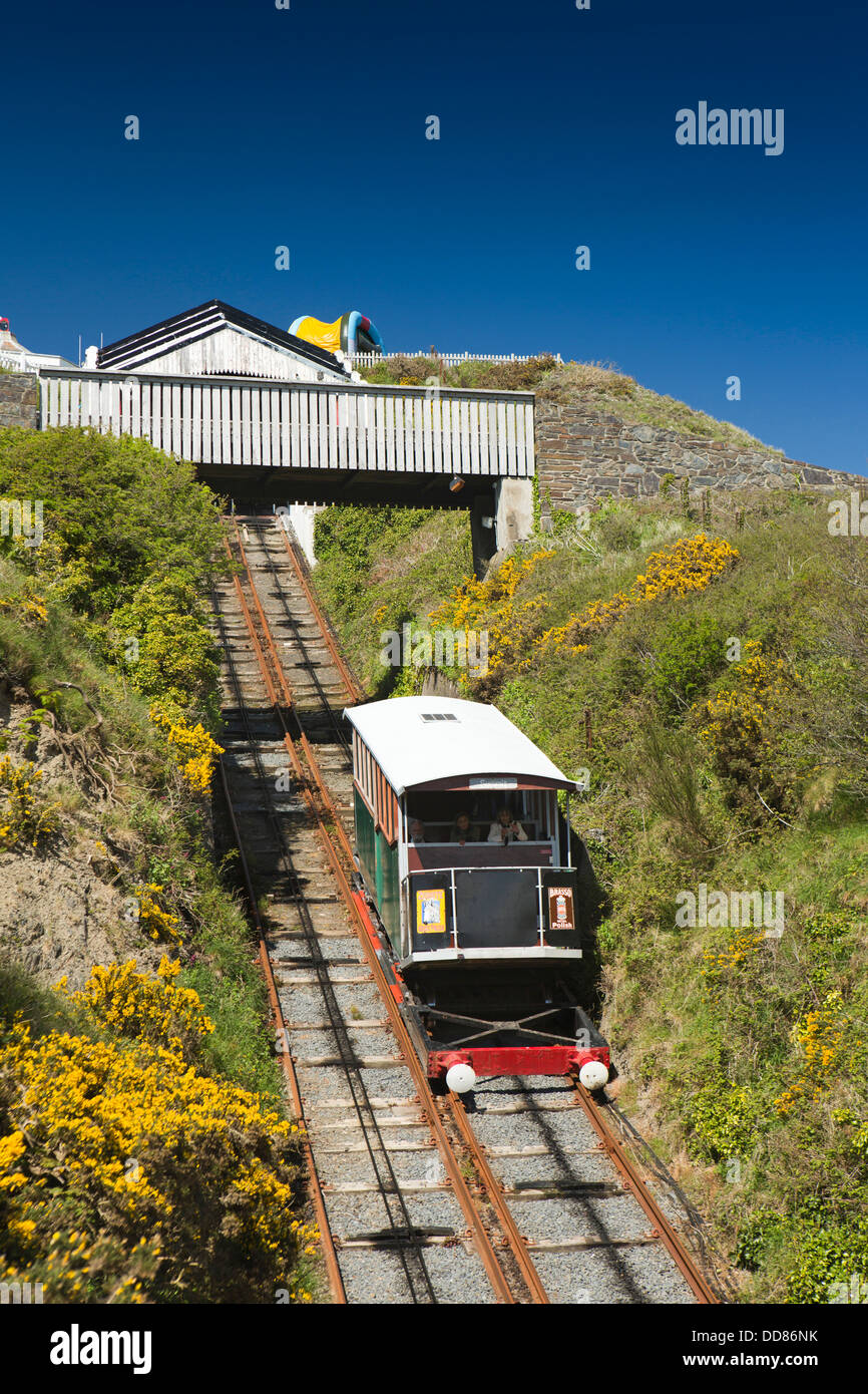 UK, Wales, Ceredigion, Aberystwyth, Electric Railway car going up Constitution Hill - Stock Image