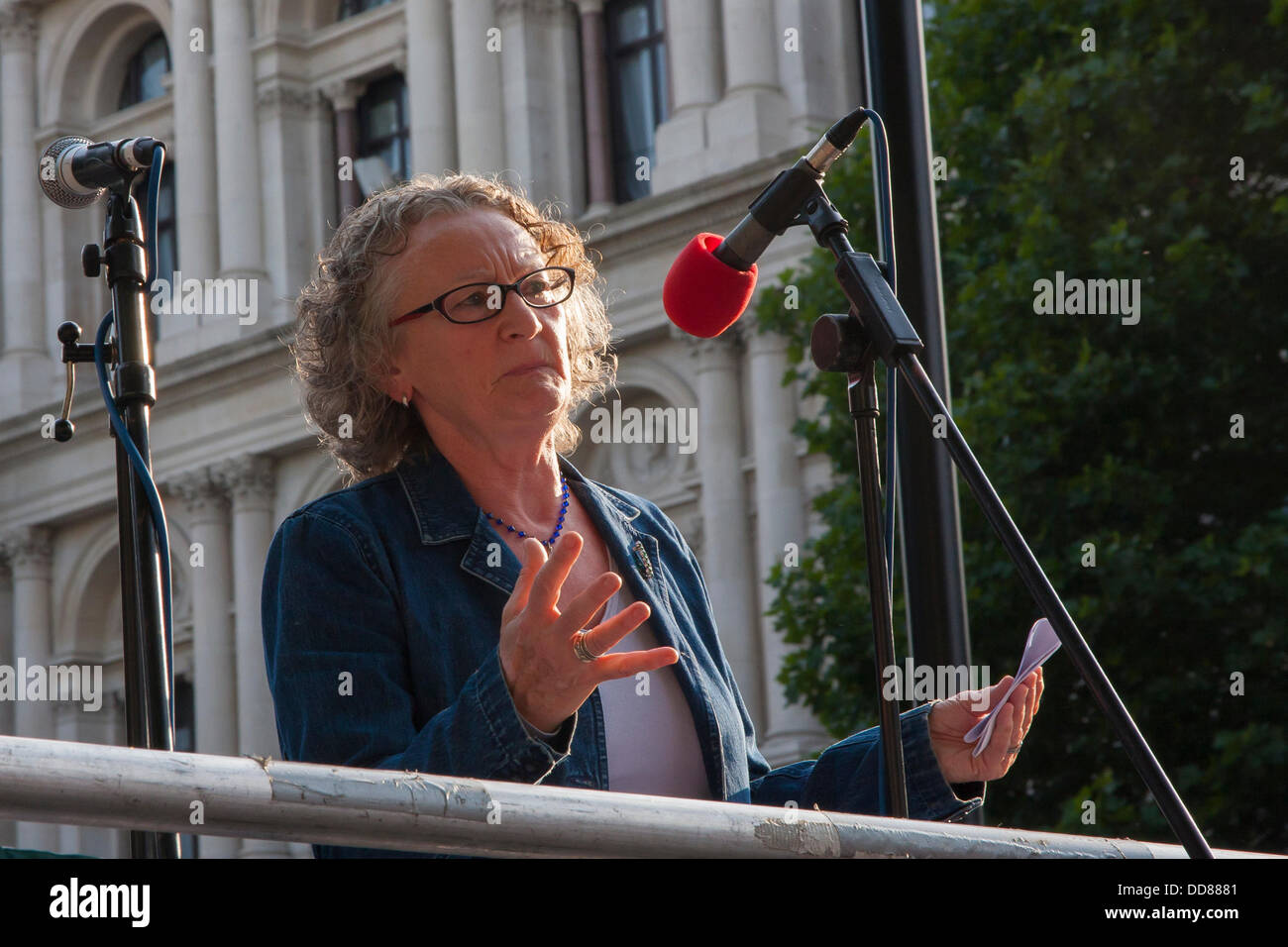 London, UK. 28th Aug, 2013. Jenny Jones of the Green Party speaks to demonstrators during a protest against possible - Stock Image