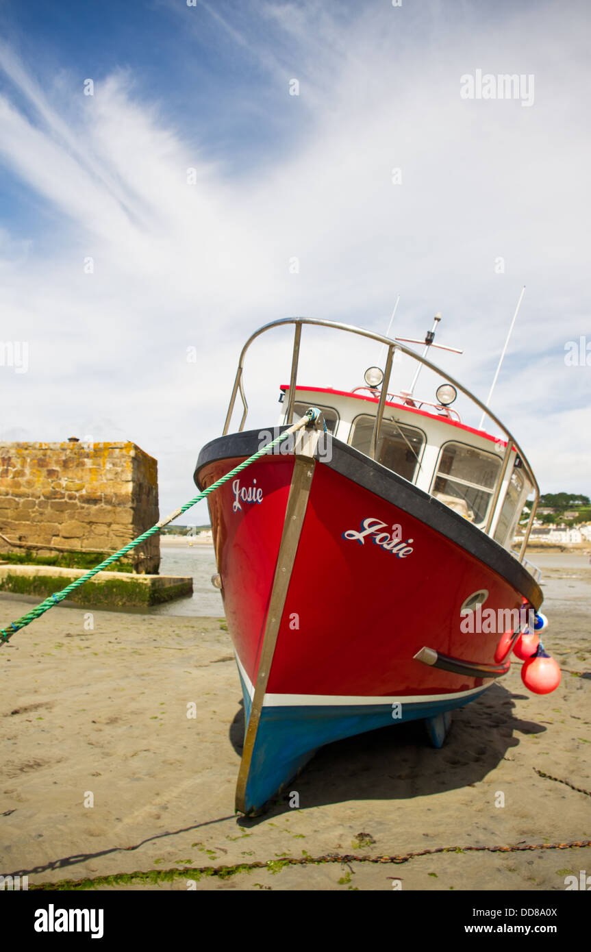 Fishing boat 'Josie' moored in the Harbour at St. Michael's Mount in Cornwall Stock Photo