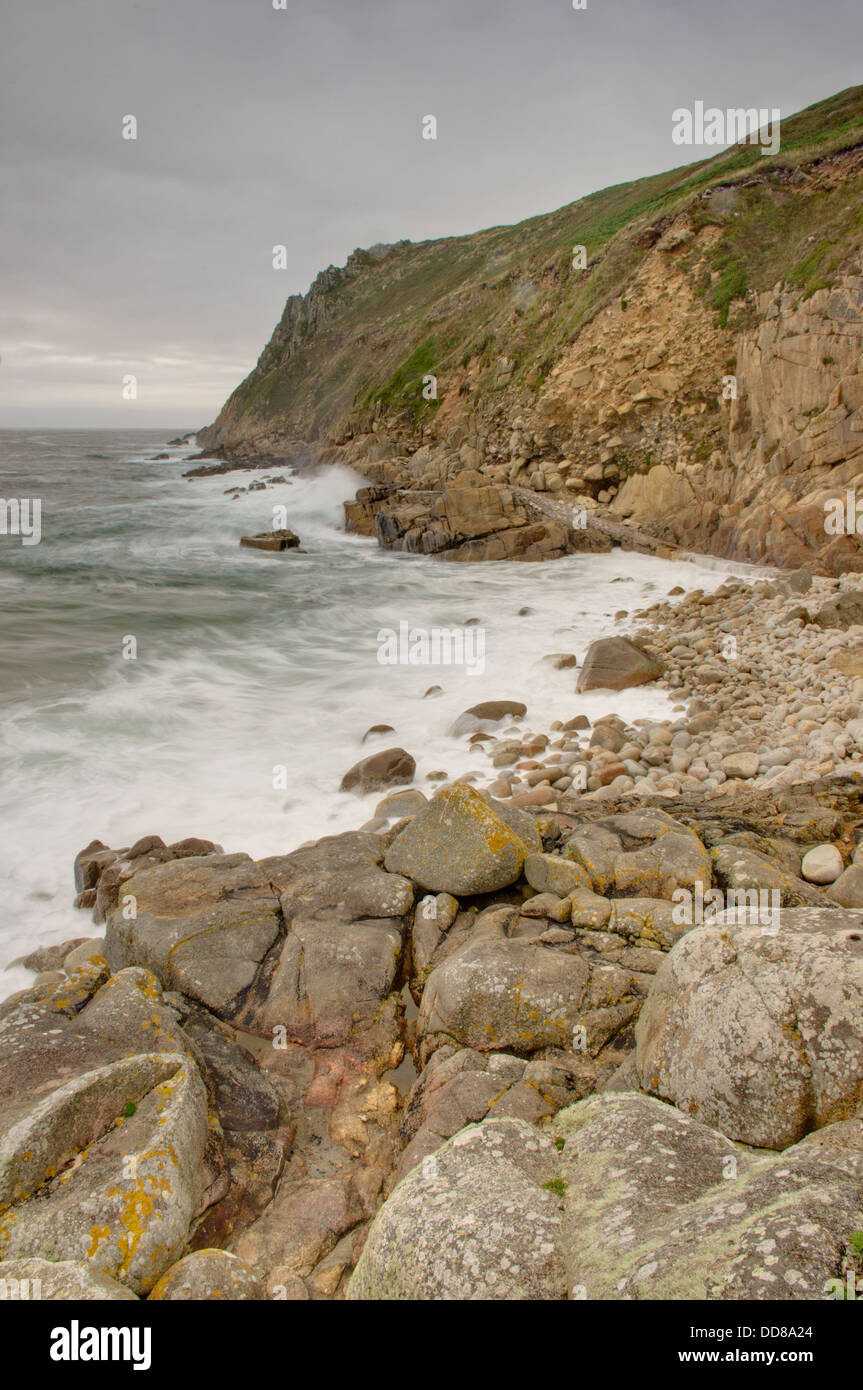 Porth Nanven in stormy weather - incoming tide Stock Photo