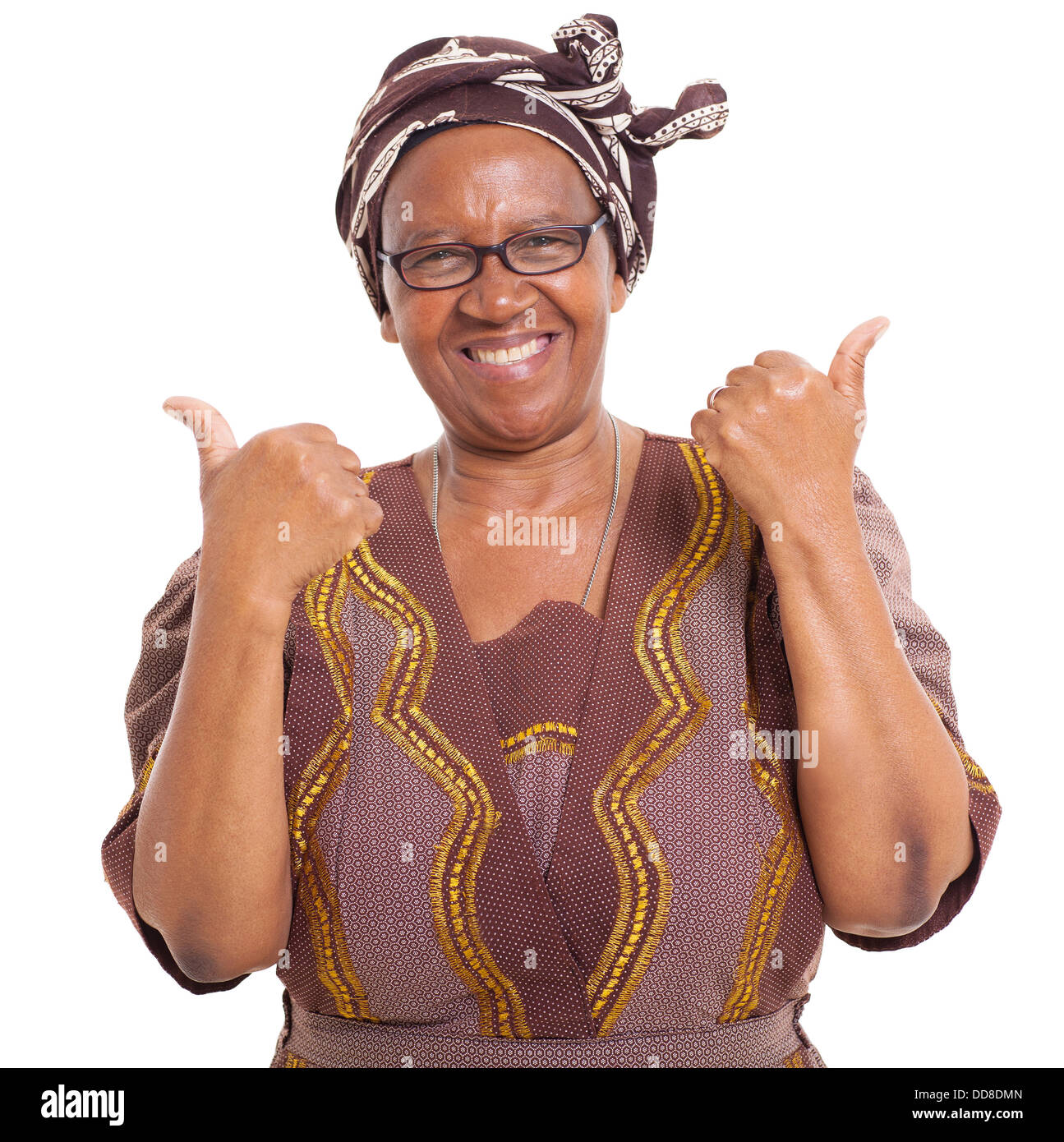 senior African woman giving two thumbs up as sign of approval - Stock Image