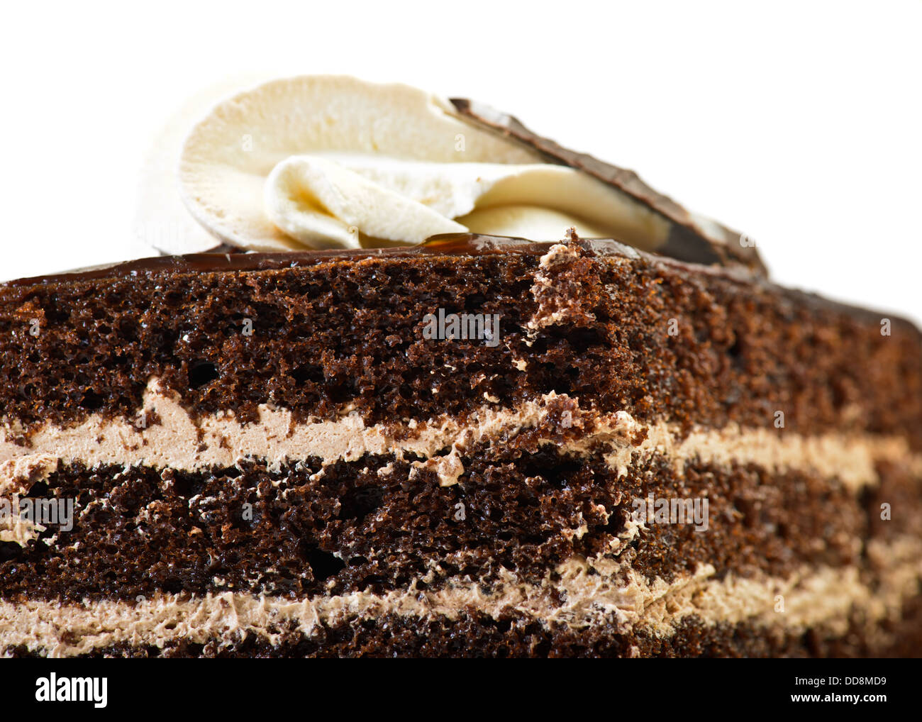Chocolate Cake isolated over white - Stock Image
