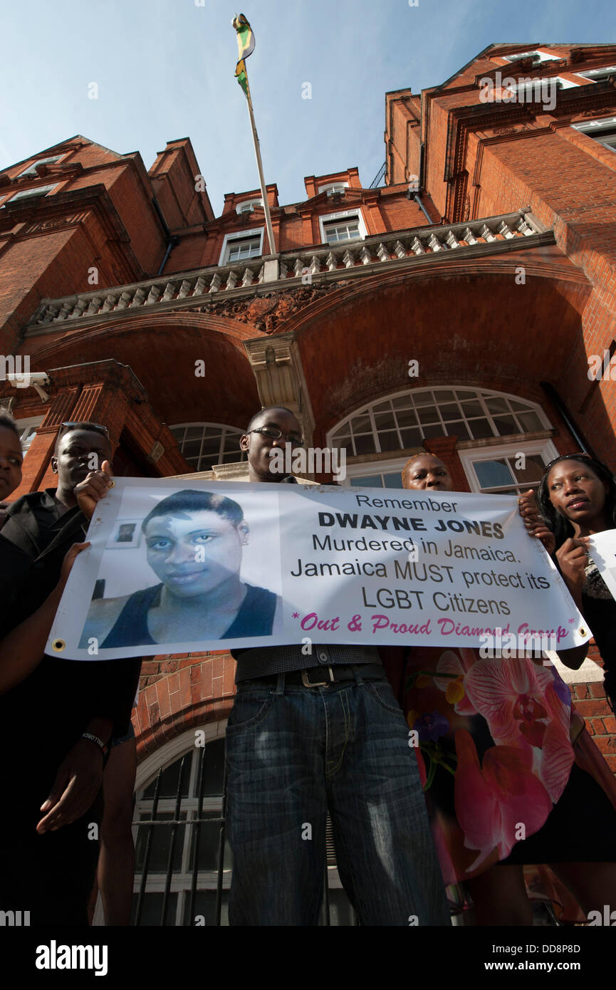Prince Consort Road, London, UK, 28th August, 2013. A vigil is held outside the Jamaican High Commission in London - Stock Image