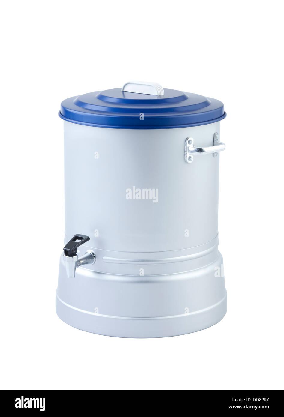 Aluminum water cooler isolated on white background - Stock Image