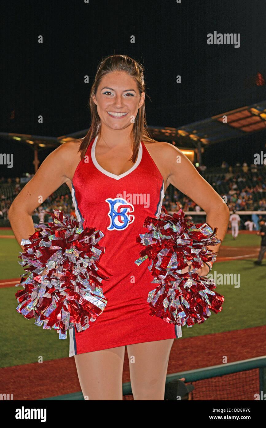 Megan, a Brooklyn Cyclones cheerleader photographed in Coney Island at MCU Park. - Stock Image