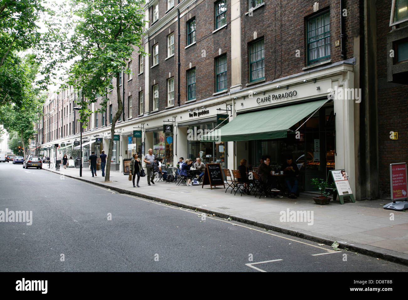 Caffe Paradiso and the Life Goddess cafes on Store Street, Bloomsbury, London, UK - Stock Image