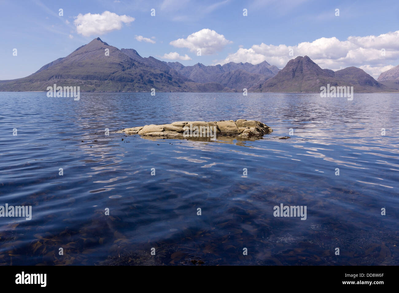 Black Cuillin Mountains and Loch Scavaig as seen from Elgol, Isle of Skye, Scotland, UK - Stock Image