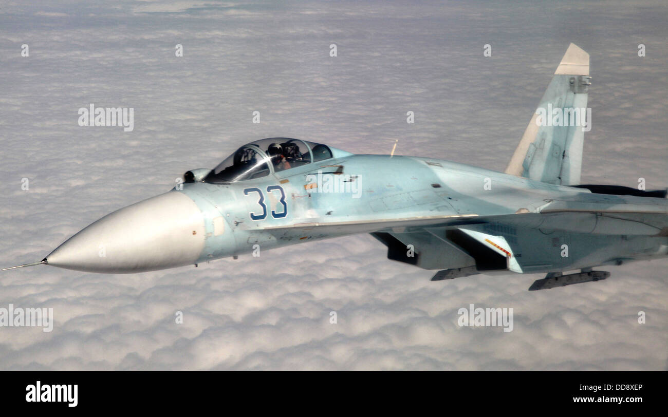 A Russian Federation air force Sukhoi Su-27 fighter aircraft participates in Vigilant Eagle August 27, 2013 over - Stock Image