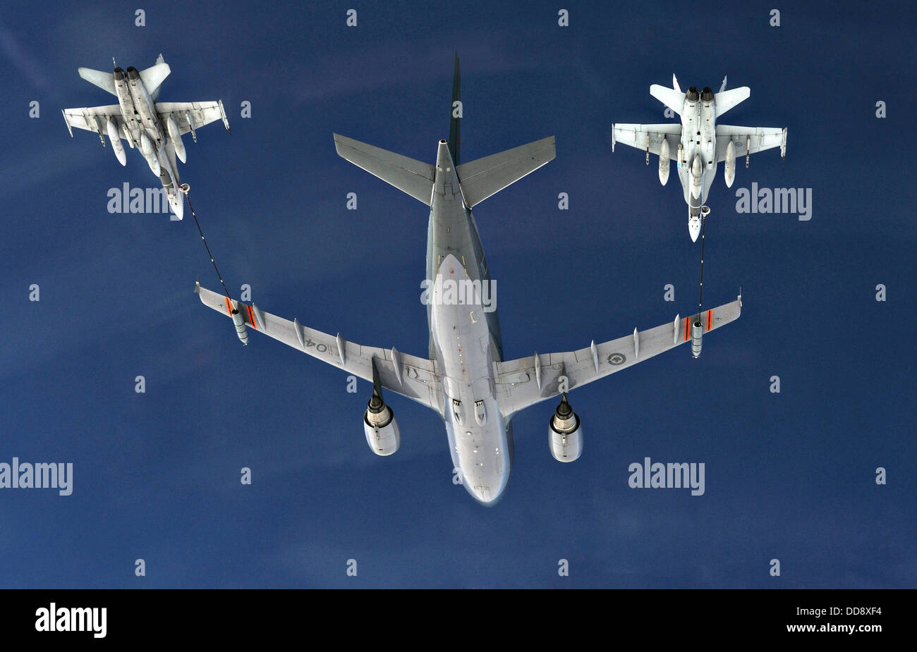 A Canadian Air Force CC-150 Polaris Airbus refueling aircraft from 437 Squadron Trenton provides air-to-air refueling Stock Photo