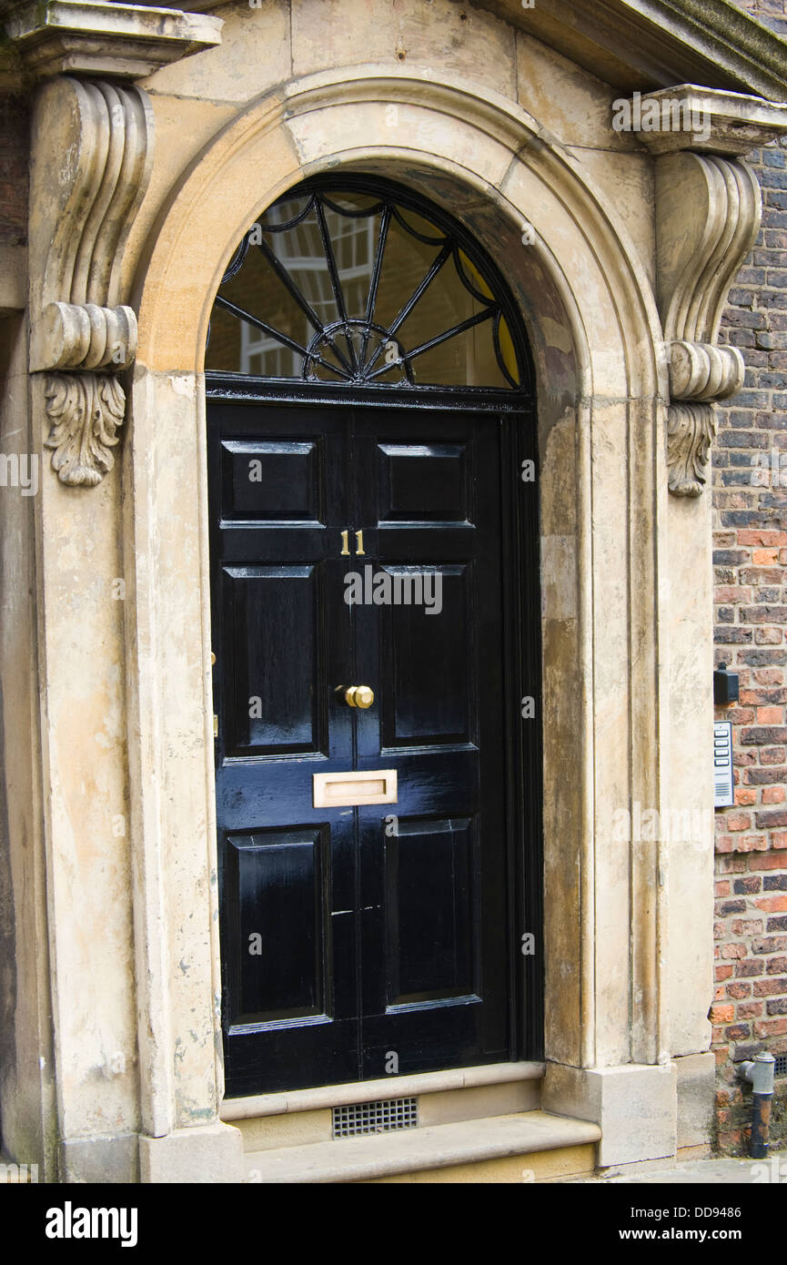 Black Front Door No 11 Of Georgian House In City Of York North Stock