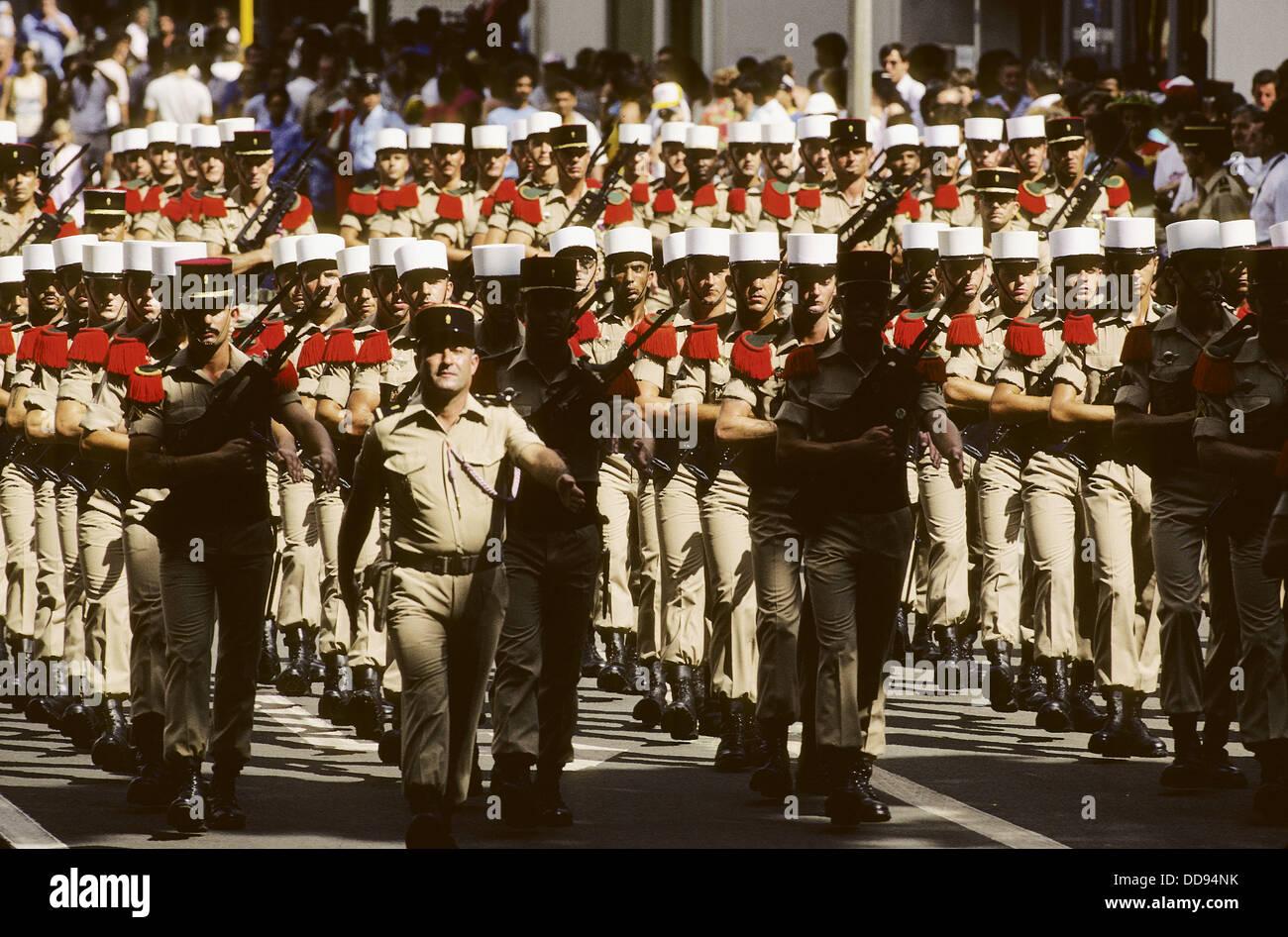 Legion Etrangere. The Fourteenth of July military parade. Heiva Tahiti. City of Papeete (capital). Tahiti Island. - Stock Image