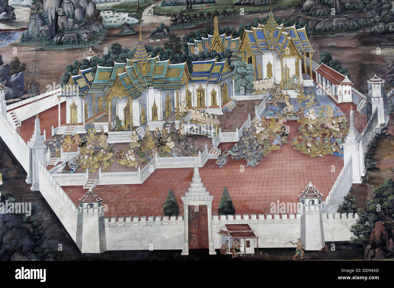 The Grand Palace. For just about 150 years. Bangkok´s Grand Palace was not only the home of the king and his - Stock Image