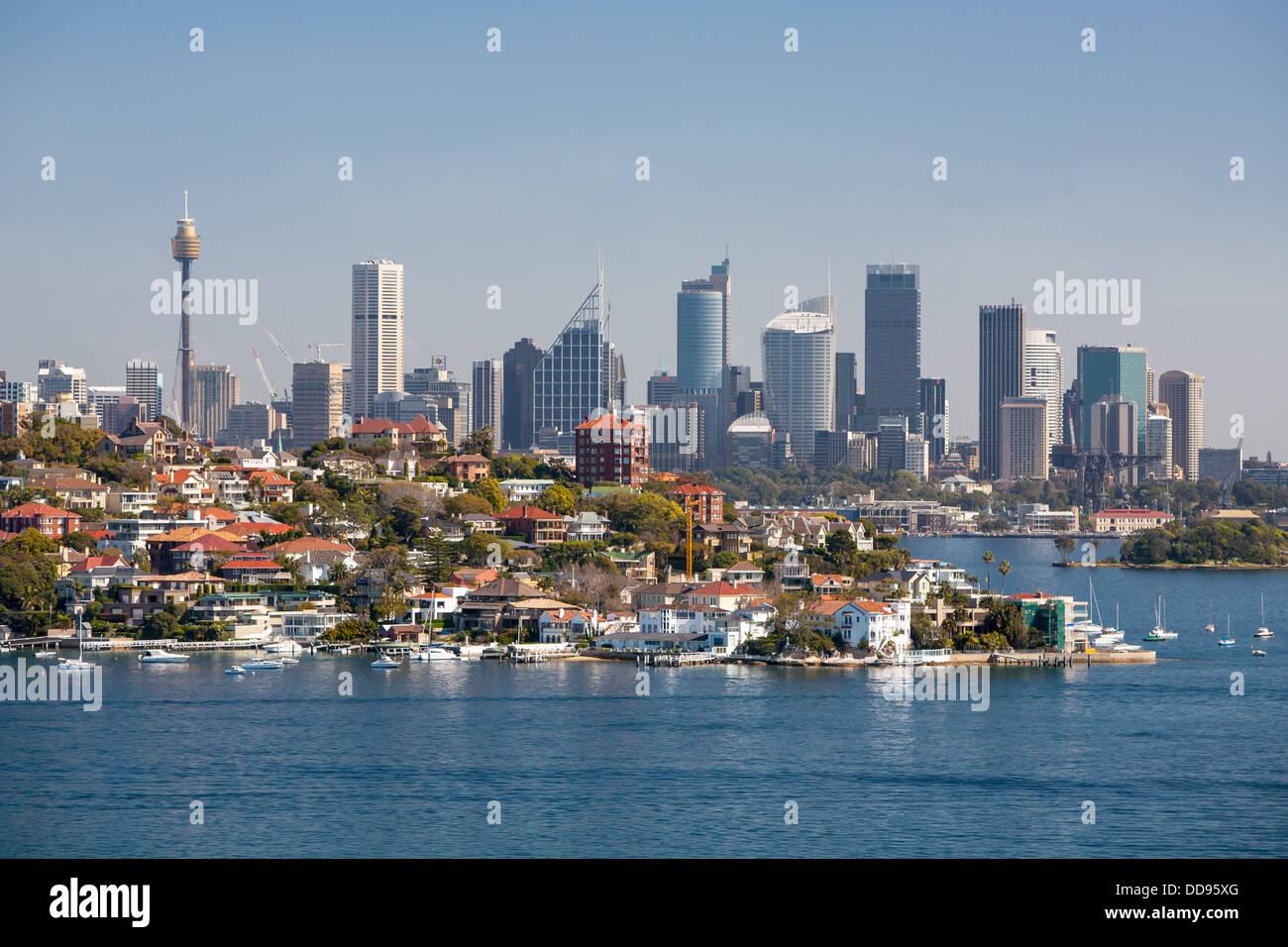Sydney skyline from Watson's Bay in Sydney, Australia - Stock Image