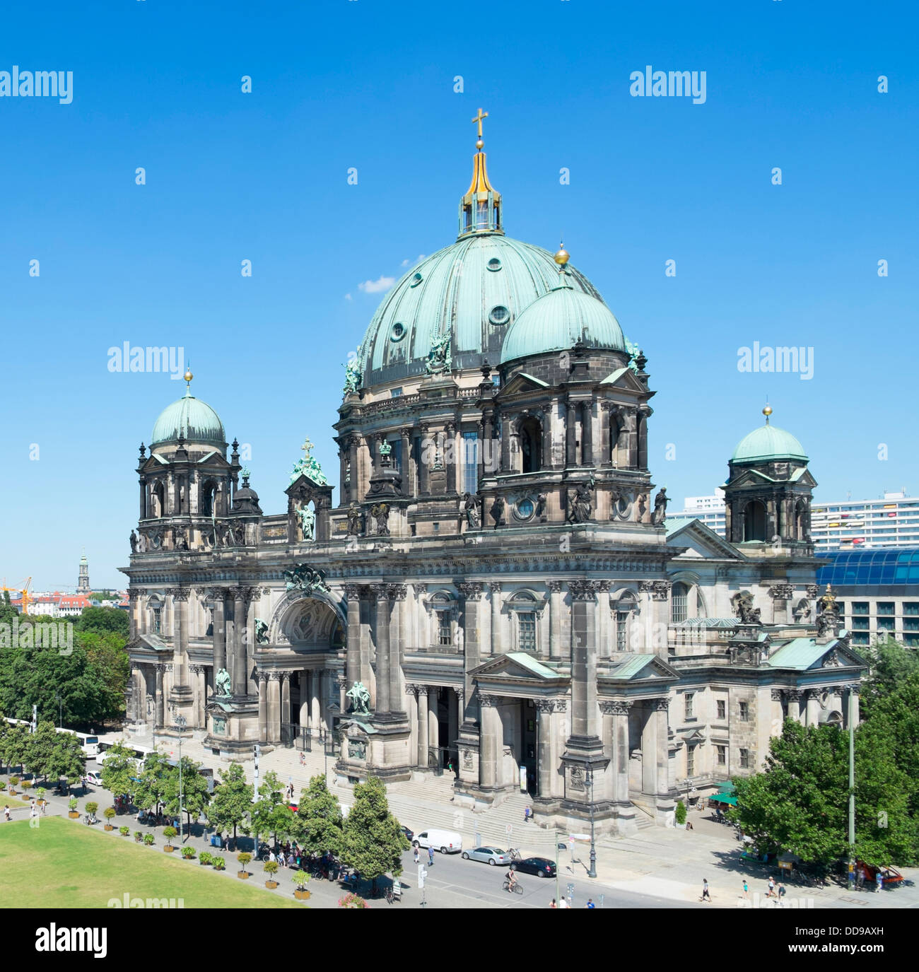 view of Berlin Cathedral or Dom on Museum Island or Museumsinsel In Berlin Germany - Stock Image