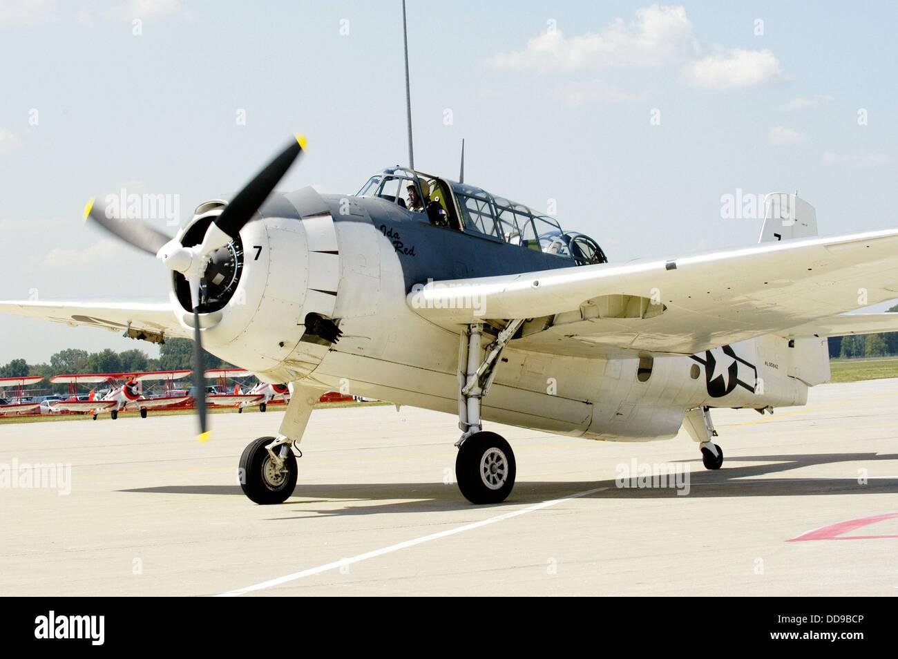 World War II Grumman Avenger aircraft on display. Selfridge Air Force Base, Mt. Clemens. Michigan. USA - Stock Image