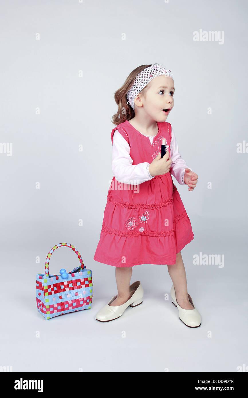 Little Girl Wearing Pink Dress