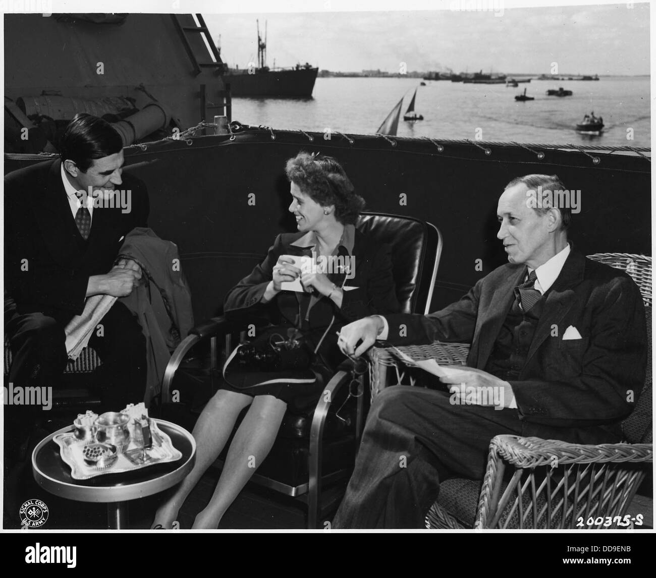 Here, on the deck of a U.S. warship anchored at Cairo as President Roosevelt conferred with the monarchs of three... - Stock Image
