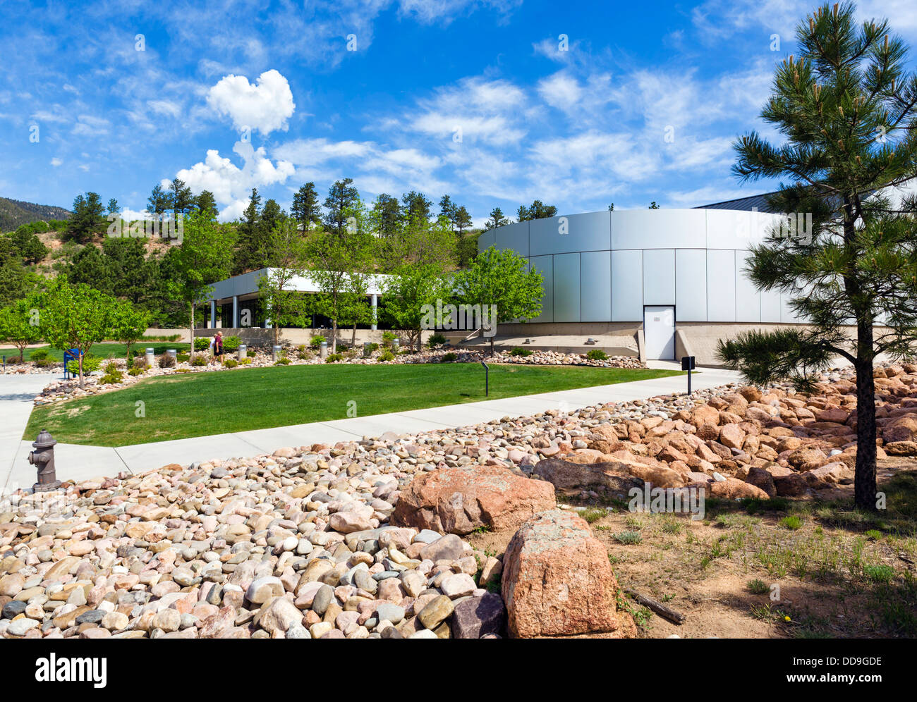 Visitor Center at the United States Air Force Academy, Colorado Springs, Colorado, USA - Stock Image