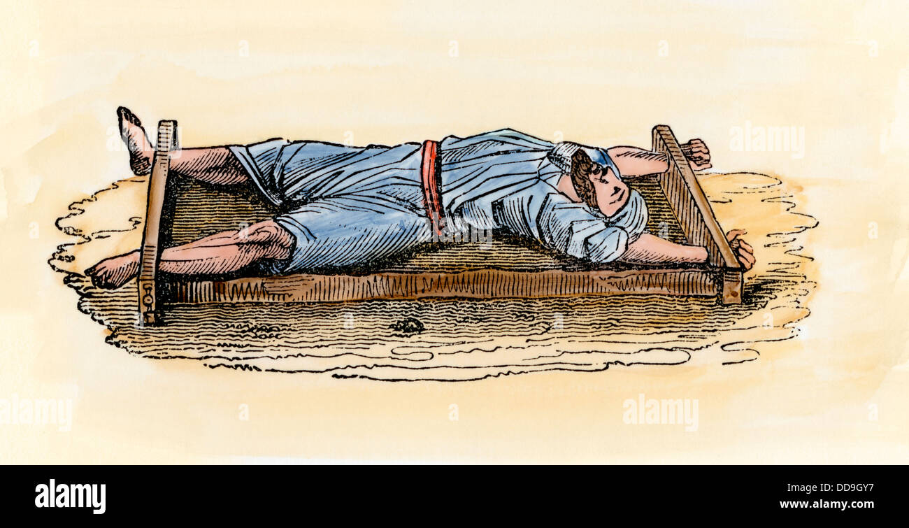 Prisoner executed by leaving him on a rack in the desert to die in the sun. Hand-colored woodcut - Stock Image