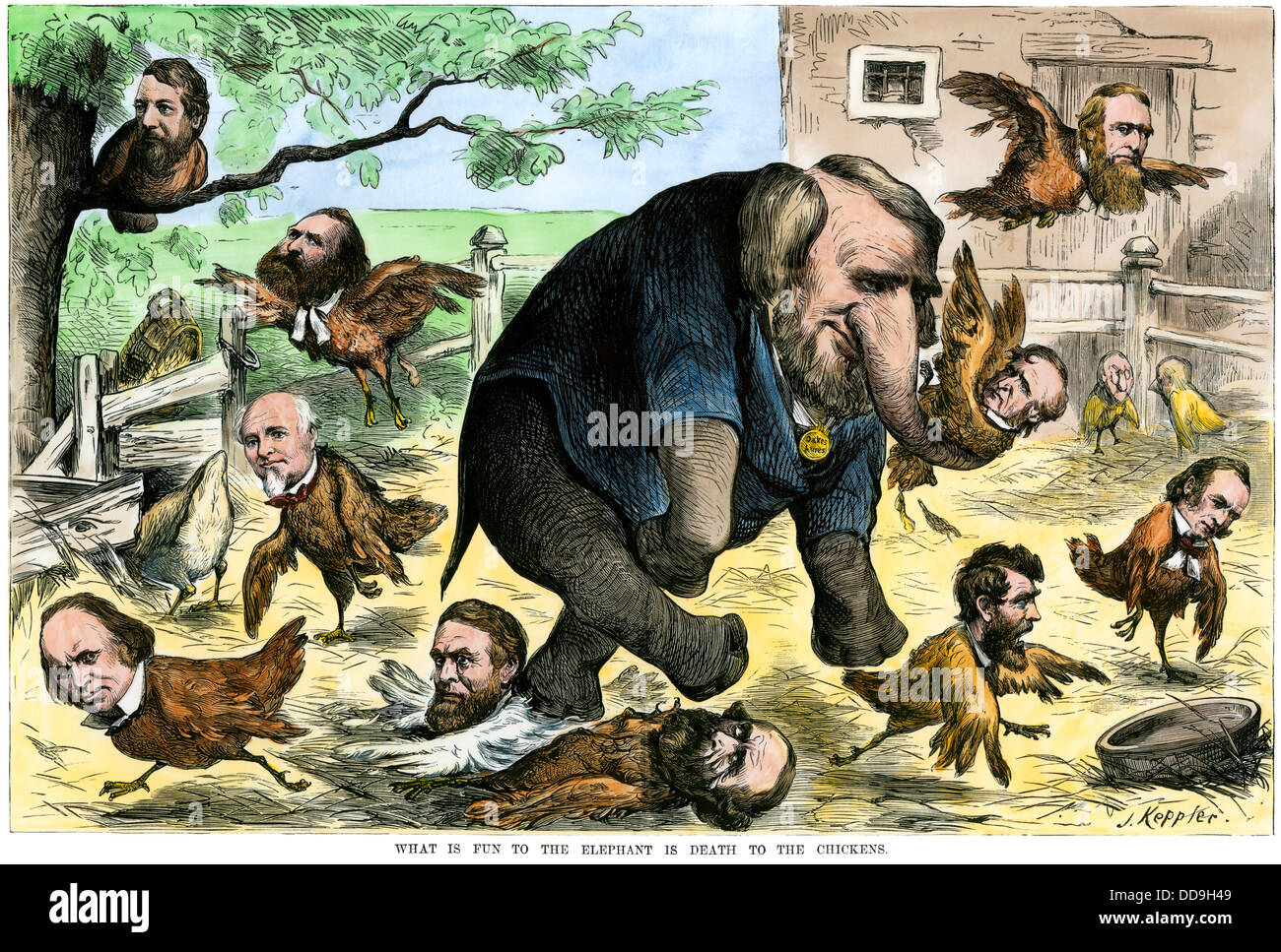 What is fun to the elephant is death to the chickens, a Credit Mobilier cartoon of 1873. Hand-colored woodcut - Stock Image