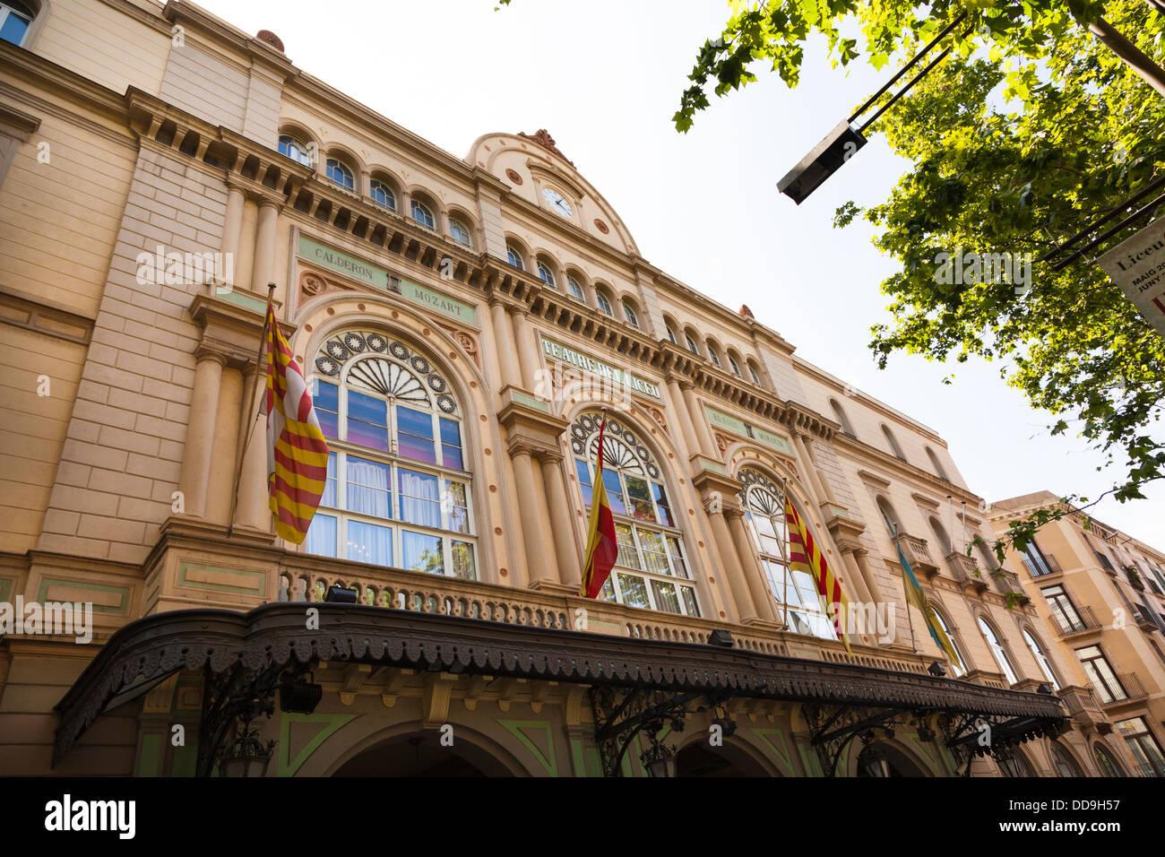 Teatre Delliceu exterior in La Rambla Barcelona - Stock Image