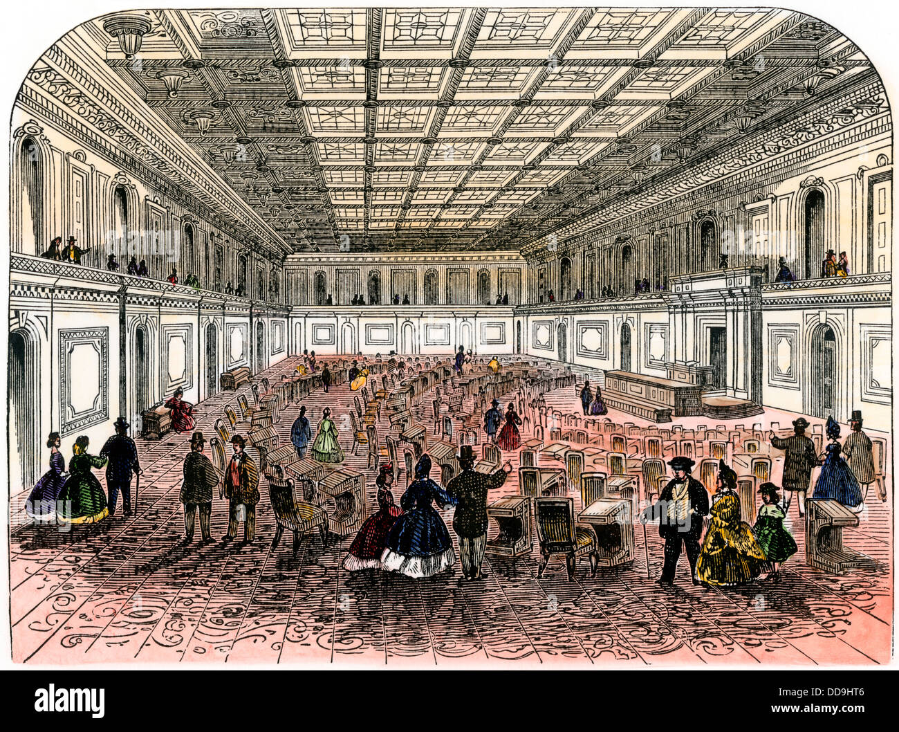 US House Of Representatives In The Mid 1800s. Hand Colored Woodcut   Stock