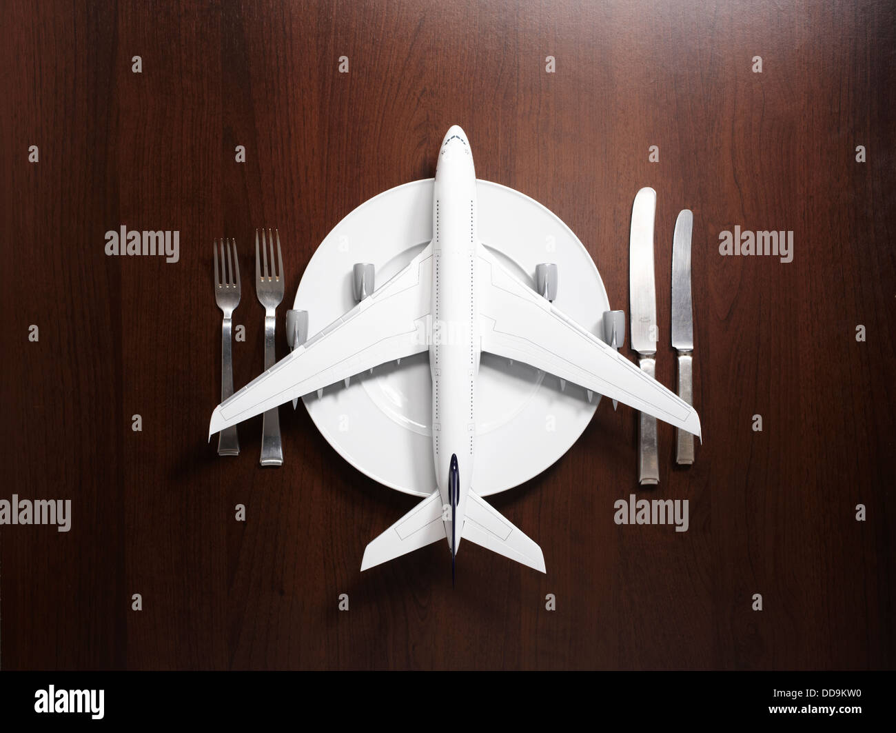 Place setting with airplane - Stock Image