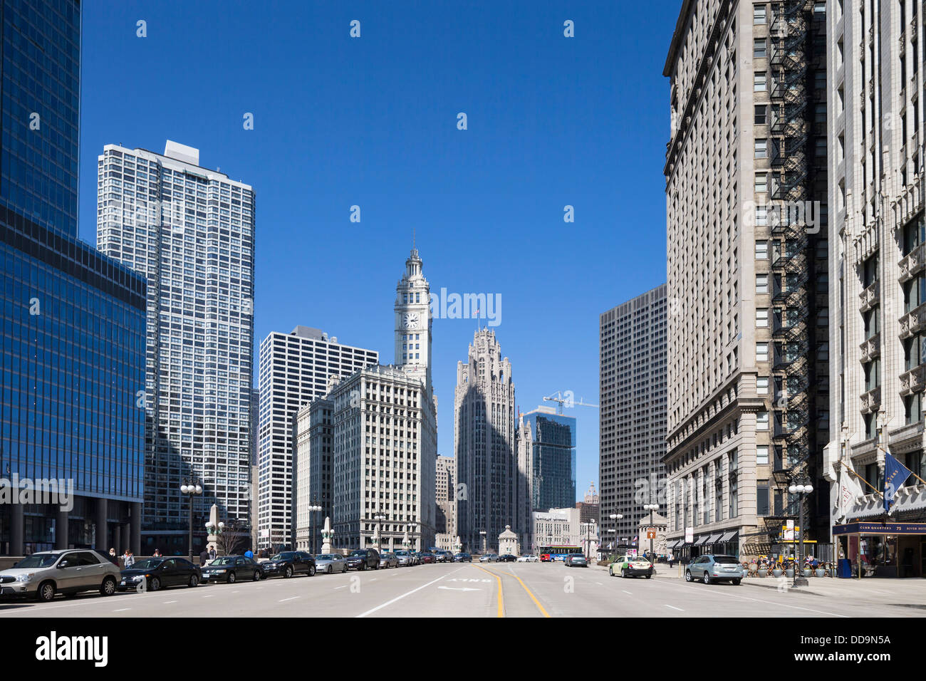 United States, Illinois, Chicago, View of Wrigley Building and Tribune Tower - Stock Image