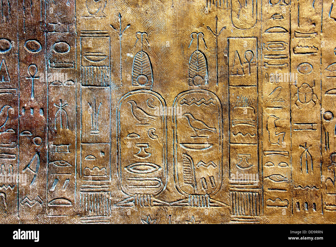 Ancient hieroglyphs on wall. - Stock Image